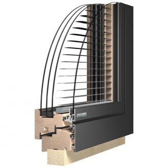Katzbeck Verbund iQ fa-alu ablak beépített árnyékolással