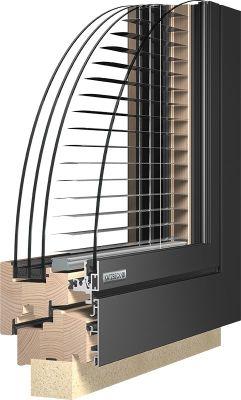 Fa-alu ablak Katzbeck Verbund IQ beépített árnyékolással - külső nézet