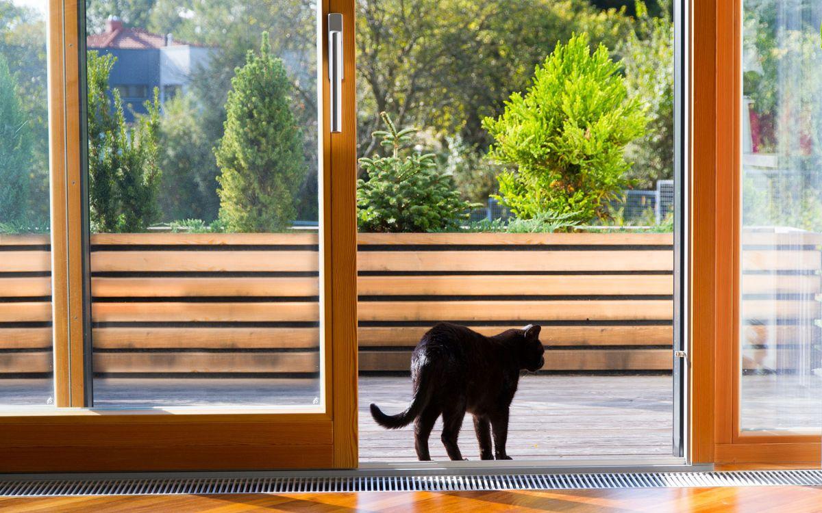 Fa emelő-tolóajtó Katzbeck és a szerencsét hozó fekete cica